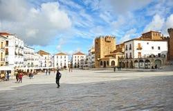 大广场,卡塞里斯,埃斯特雷马杜拉,西班牙 免版税库存图片