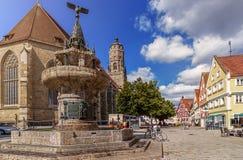 大广场Nordlingen -德国 库存照片