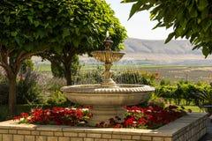 大庭院喷泉 库存照片