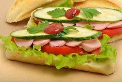 大开胃快餐长方形宝石三明治用莴苣,蕃茄 图库摄影