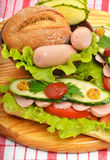 大开胃快餐长方形宝石三明治用莴苣,蕃茄 免版税库存图片