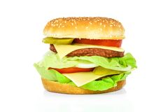 大开胃汉堡包 库存照片