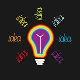 大彩虹色的电灯泡 3d概念想法图象回报了 平的设计 图库摄影
