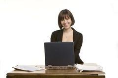 大微笑妇女工作 免版税库存照片