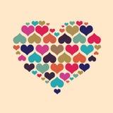 大心脏由一点心脏做成 库存图片