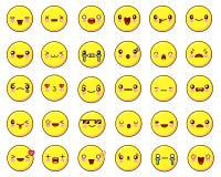 大情感面孔象设置了kawaii 平的设计传染媒介 库存照片