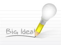 大想法电灯泡铅笔概念例证 免版税图库摄影