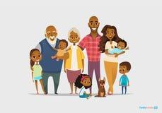 大愉快的家庭画象 三世代-祖父母,父母 皇族释放例证
