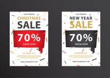 大折扣优惠券新年和圣诞节 免版税库存图片