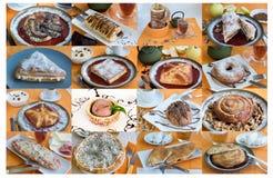 大拼贴画用甜小圆面包茶,咖啡 免版税库存图片