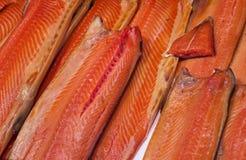 大挪威光盐味的三文鱼 图库摄影