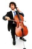 大提琴人纵向年轻人 库存照片