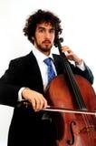 大提琴人纵向年轻人 图库摄影