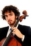 大提琴人纵向年轻人 免版税库存图片