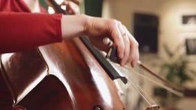 大提琴球员 弹有弓的大提琴手手大提琴 串 影视素材