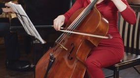 大提琴球员 弹有弓的大提琴手手大提琴 股票录像