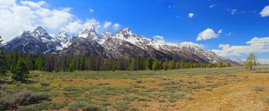 大提顿峰范围全景在下午光,怀俄明的 免版税库存图片