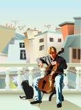 大提琴手和猫 库存照片