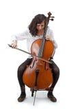 大提琴手年轻人 免版税库存图片
