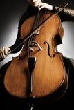 大提琴球员细节 免版税库存照片