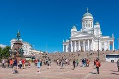 大教堂中心城市芬兰赫尔辛基路德教会的参议院正方形 赫尔辛基,芬兰 免版税图库摄影