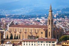 大教堂二三塔Croce看法在秋天晚上 图库摄影
