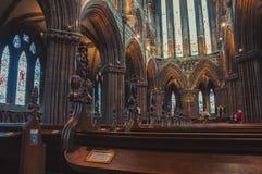 大教堂内部在格拉斯哥,苏格兰 库存图片