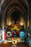大教堂内部的装饰圣诞节的 库存照片