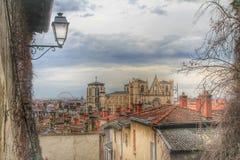 大教堂利昂老镇的圣徒斜纹布,利昂,法国 图库摄影