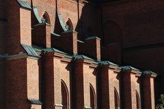 大教堂副瑞典乌普萨拉墙壁 库存照片
