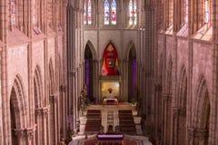 大教堂台尔沃托Nacional,基多, Ecuad的哥特式内部 免版税图库摄影