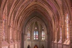 大教堂台尔沃托Nacional,基多, Ecuad的哥特式内部 免版税库存图片