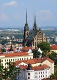 大教堂和市布尔诺,捷克,欧洲 图库摄影