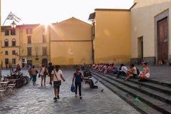 大教堂和正方形圣斯皮里托在佛罗伦萨,意大利 库存照片