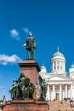 大教堂和纪念碑对亚历山大二世在赫尔辛基 库存照片