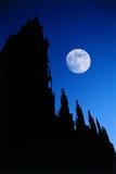 大教堂哥特式月亮晚上 免版税图库摄影