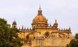 大教堂圆顶在天 children ・ de复活节欧洲弗隆特里赫雷斯la队伍西班牙 库存照片