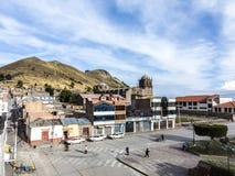 大教堂圣佩德罗火山Martir在Juli,秘鲁 免版税图库摄影