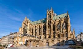 大教堂圣埃蒂尼de梅茨,洛林,法国 免版税库存图片