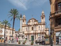 大教堂圣多梅尼科在巴勒莫,西西里岛,意大利 西西里人的barocco 免版税库存照片