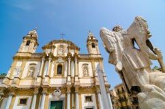 大教堂圣多梅尼科 西西里人的barocco 巴勒莫,西西里岛 图库摄影