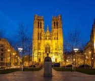 大教堂圣迈克尔布鲁塞尔比利时 库存照片