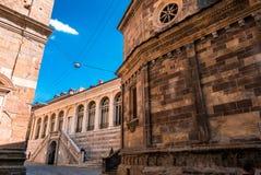 大教堂圣马里亚马焦雷在Citta亚尔他,贝加莫,意大利 r Beautif 免版税图库摄影