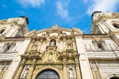 大教堂在利马,秘鲁。老教会在南美,在1540年修造。阿雷基帕的Plaza de阿玛斯是一个最美丽在秘鲁 图库摄影