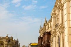 大教堂在利马,秘鲁。老教会在南美,在1540年修造。阿雷基帕的Plaza de阿玛斯是一个最美丽 图库摄影