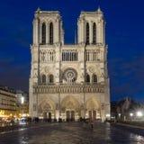 大教堂在微明的Notre Dame巴黎 图库摄影