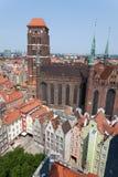 大教堂在格但斯克,波兰老镇  免版税图库摄影