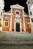 大教堂在科孚(希腊)在晚上 库存照片
