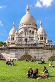 大教堂在蒙马特小山,巴黎,法国的Sacre Coeur 免版税库存图片