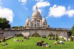 大教堂在蒙马特小山,巴黎,法国的Sacre Coeur 库存照片